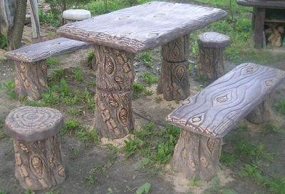 Meble Do Ogrodu Altany Drewniane Imitacja Sęki Stół I ławki